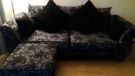 black/grey floral sofa