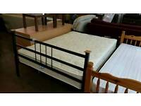 Metal framed double bed with Myers mattress. Excellent condition
