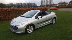 AUTOMATIC 2008 NEW SHAPE PEOGEOT 207CC 1.6 COVERTIBLE LOW MILES 82K AS NEW FSH PX TAKEN