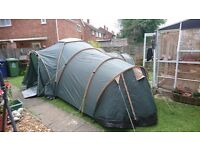 6 man tent with 3 pods and central area excellent condition.
