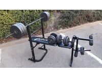 OPTI FOLDABLE BENCH WITH BARS & 50KG WEIGHTS