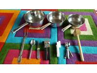 Pots, can openers, mixed kitchen utensils