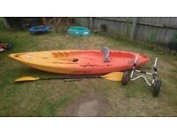 Kayak with Paddle and Scupper Wheels