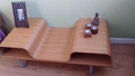 Beautiful Swedish Style Curved Wood Coffee Table