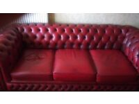 Chesterfield three seater and matching arm chairs in excellent condition
