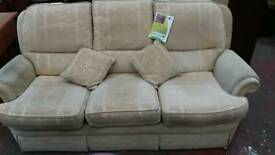 Cream 3 seater sofa with chair