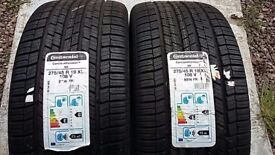 "2 X 19"" BRAND NEW ALL SEASON CONTINENTAL M+S TYRES 275 45 R19 PORSCHE CAYENNE TYRES"