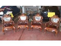 CARVED ROSEWOOD AND MARBLE CHINESE FURNITURE