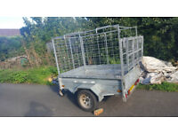 6 x 4 galvanised caged tipping car trailer with ramp
