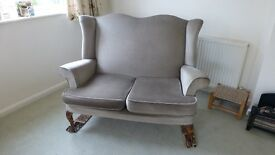 Cottage style settee, 2 seater, winged high back