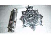 Vintage 1960's Metropolitan Police Badge and Whistle