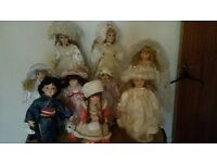 Collection of 9 porcelain china dolls