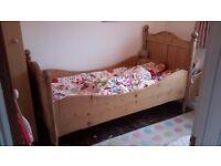 Single pine sleigh bed