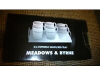 MEADOWS & BYRNE ESPRESSO MUGS/RED TRAY