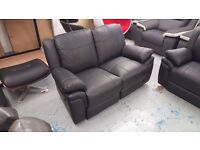 Ex Display LEO BLACK LEATHER 2 SEATER Manual Recliner SOFA Can Deliver