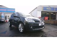 2008 Renault Clio 1.2 TCE 100, 77,000 miles, 3 door in black with half leather, Private reg stays