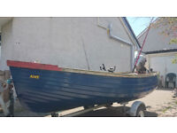 "12`6"" fibreglass boat with outboard and trailer"