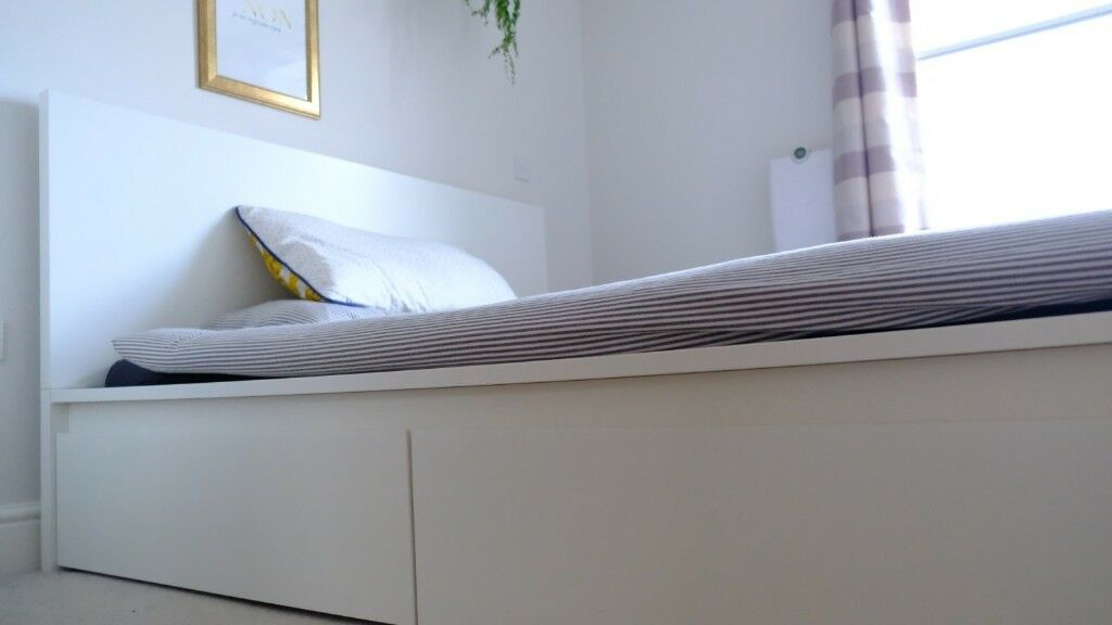 check out bb7d6 799ec MALM bed 160x200 with slatted base, 4 storage boxes & 2 horsehair  mattresses | in Richmond, London | Gumtree