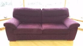 Large 3 seater M&S Home sofa; plum chenille; very good condition