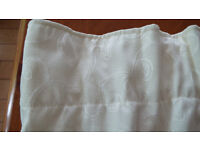 Cream Curtains with Leaf Design, As New Condition 180 cm x 117 cm