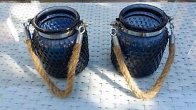 Lovely pair of small nautical/ coastal embossed cobalt blue glass hurricane lamps with rope handles