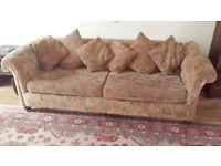 3 SEATER CHESTERFIELD STYLE SETTEE BROWN PAISLEY PATTERN FABRIC