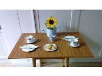 Vintage retro style wood grain top kitchen/dining table with extending sides