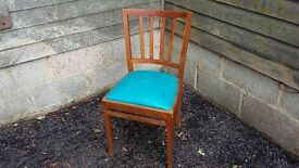 Vintage Retro Dining Chair Blue Leatherette