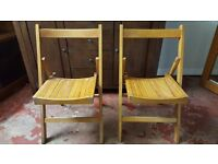 Two Wooden Folding Dinning Chairs