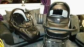 Vib black leather swaroski pram