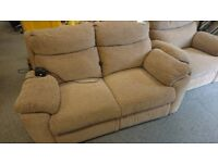 Brown fabric 2 seat electric recliner sofa with armchair suite settee