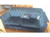 Quality blue velvet chesterfield sofa