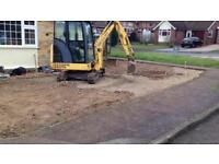 Digger work with driver landscaping footing clearance driveways patio
