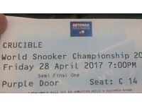 World snooker championship semi final Selby v Ding VIP