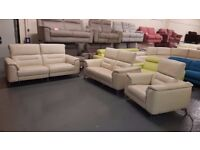 Ex-display Sanza cream leather electric recliner 3+2 seater sofas and armchair
