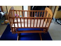 Wooden Baby Cradle, Looks New - £15 Only + Baby pram