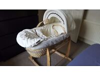 Moses basket with rocking stand - used only twice - in perfect condition - collection in person