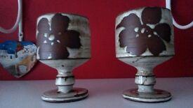 Pottery wine goblets
