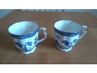 "Vintage Royal Doulton Booths fine china cups x2, ""Real Old Willow"" design"