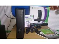 XBOX 360 4gb Kinect and extras