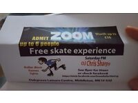 6 x skating tickets voucher