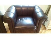 Soft Brown Leather 3-piece Suite (Used)
