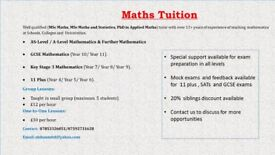 Maths Tuition (11 Plus, Key Stage 3/4, GCSE, AS and A level)