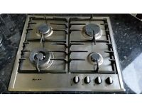 Gas Hob, Extractor Hood, and Double Bowl Corner Kitchen Sink with Tap