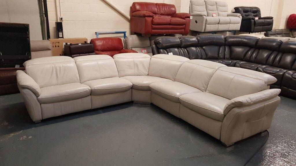 Ex Display Mustang Light Grey Leather Electric Corner Sofa In Deeside