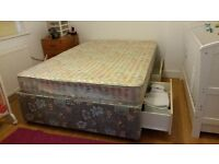 Double Divan Bed with Mattress & 4 Drawers