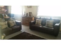 ** 2 & 3 seater brown leather sofas, excellent condition **