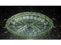 CUT GLASS 4 SECTION SERVING DISH