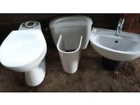 Toilet and wall hanging basin