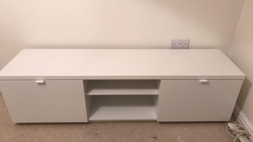 5cbb8830324 Ikea Byas White gloss TV stand in Morley